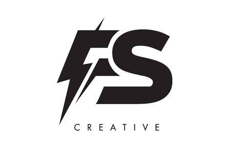 FS Letter Logo Design With Lighting Thunder Bolt. Electric Bolt Letter Logo Vector Illustration.