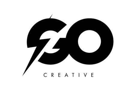 GO Letter Logo Design With Lighting Thunder Bolt. Electric Bolt Letter Logo Vector Illustration. Stock Illustratie