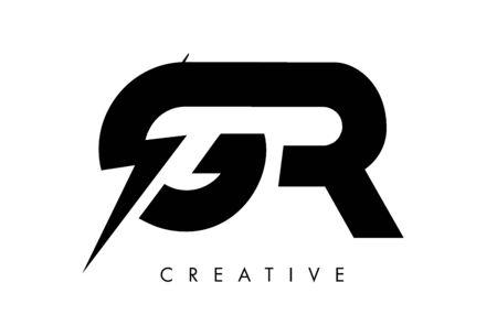 GR Letter Logo Design With Lighting Thunder Bolt. Electric Bolt Letter Logo Vector Illustration.