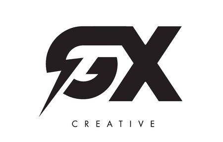 GX Letter Logo Design With Lighting Thunder Bolt. Electric Bolt Letter Logo Vector Illustration.