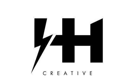 HH Letter Logo Design With Lighting Thunder Bolt. Electric Bolt Letter Logo Vector Illustration. Stock Illustratie