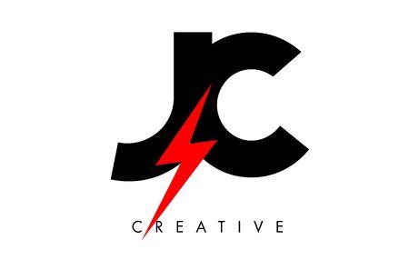 JC Letter Logo Design With Lighting Thunder Bolt. Electric Bolt Letter Logo Vector Illustration.