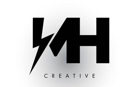 MH Letter Logo Design With Lighting Thunder Bolt. Electric Bolt Letter Logo Vector Illustration.
