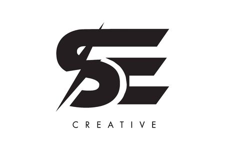 SE Letter Logo Design With Lighting Thunder Bolt. Electric Bolt Letter Logo Vector Illustration.