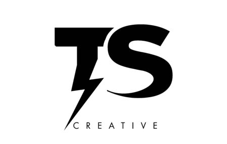 TS Letter Logo Design With Lighting Thunder Bolt. Electric Bolt Letter Logo Vector Illustration. Ilustrace