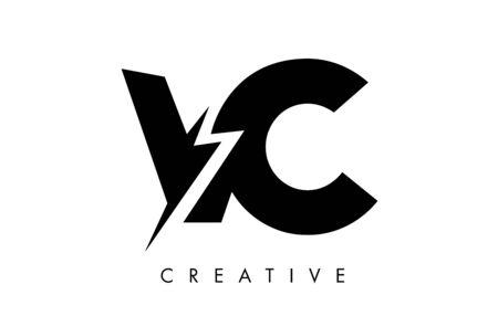 VC Letter Logo Design With Lighting Thunder Bolt. Electric Bolt Letter Logo Vector Illustration.