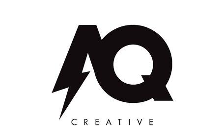 AQ Letter Logo Design With Lighting Thunder Bolt. Electric Bolt Letter Logo Vector Illustration. Reklamní fotografie - 124824127