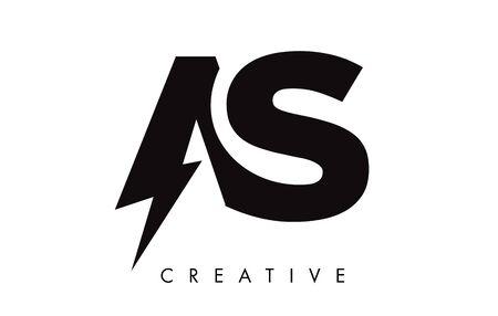 AS Letter Logo Design With Lighting Thunder Bolt. Electric Bolt Letter Logo Vector Illustration.