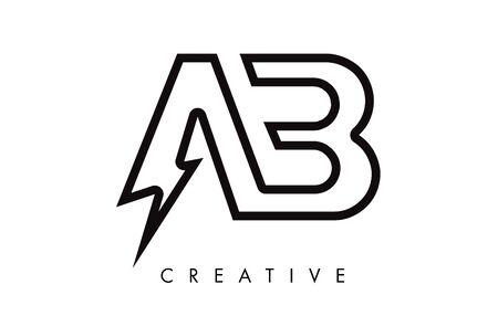 AB Letter Logo Design With Lighting Thunder Bolt. Electric Bolt Letter Logo Vector Illustration.
