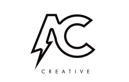 AC Letter Logo Design With Lighting Thunder Bolt. Electric Bolt Letter Logo Vector Illustration. Ilustrace