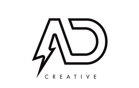 AD Letter Logo Design With Lighting Thunder Bolt. Electric Bolt Letter Logo Vector Illustration.