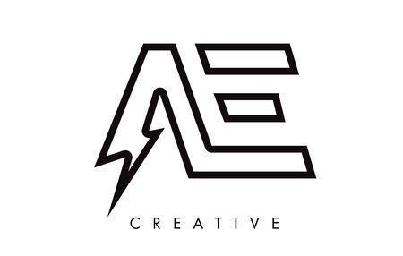 AE Letter Logo Design With Lighting Thunder Bolt. Electric Bolt Letter Logo Vector Illustration. Reklamní fotografie - 124824219