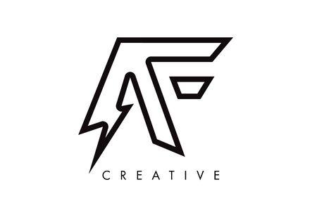 AF Letter Logo Design With Lighting Thunder Bolt. Electric Bolt Letter Logo Vector Illustration.