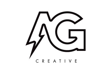 AG Letter Logo Design With Lighting Thunder Bolt. Electric Bolt Letter Logo Vector Illustration.