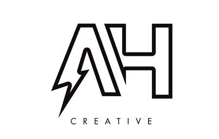 AH Letter Logo Design With Lighting Thunder Bolt. Electric Bolt Letter Logo Vector Illustration. Ilustrace