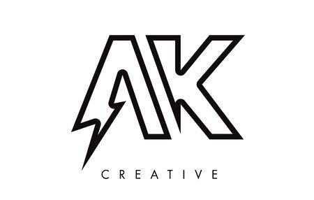 AK Letter Logo Design With Lighting Thunder Bolt. Electric Bolt Letter Logo Vector Illustration.