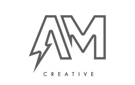 AM Letter Logo Design With Lighting Thunder Bolt. Electric Bolt Letter Logo Vector Illustration.