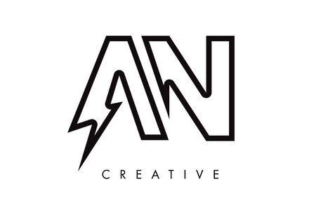 AN Letter Logo Design With Lighting Thunder Bolt. Electric Bolt Letter Logo Vector Illustration.