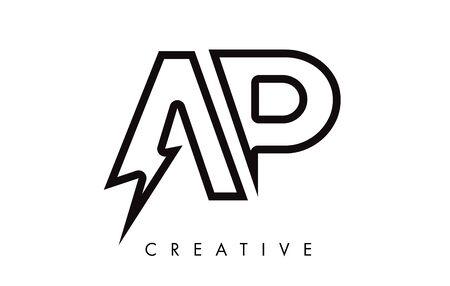 AP Letter Logo Design With Lighting Thunder Bolt. Electric Bolt Letter Logo Vector Illustration. Ilustrace