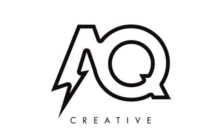 AQ Letter Logo Design With Lighting Thunder Bolt. Electric Bolt Letter Logo Vector Illustration. Reklamní fotografie - 124824227