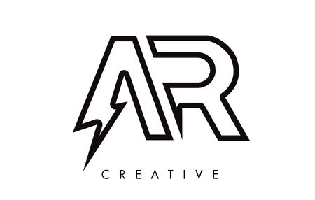 AR Letter Logo Design With Lighting Thunder Bolt. Electric Bolt Letter Logo Vector Illustration. Reklamní fotografie - 124824228