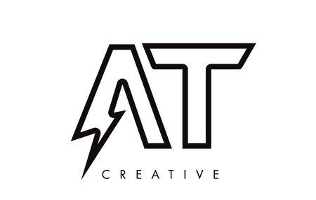 AT Letter Logo Design With Lighting Thunder Bolt. Electric Bolt Letter Logo Vector Illustration. Reklamní fotografie - 124824230