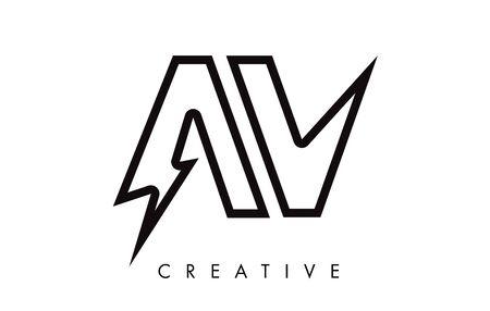 AV Letter Logo Design With Lighting Thunder Bolt. Electric Bolt Letter Logo Vector Illustration.