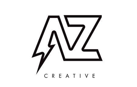 AZ Letter Logo Design With Lighting Thunder Bolt. Electric Bolt Letter Logo Vector Illustration.