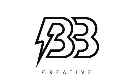 BB Letter Logo Design With Lighting Thunder Bolt. Electric Bolt Letter Logo Vector Illustration.