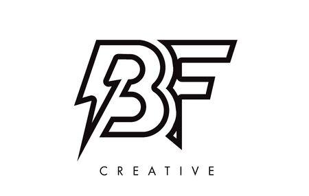 BF Letter Logo Design With Lighting Thunder Bolt. Electric Bolt Letter Logo Vector Illustration.