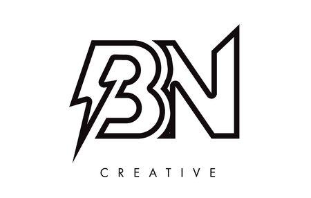 BN Letter Logo Design With Lighting Thunder Bolt. Electric Bolt Letter Logo Vector Illustration. Ilustrace
