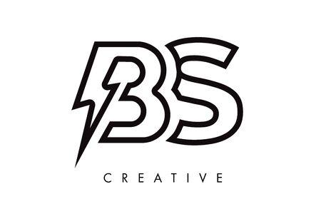 BS Letter Logo Design With Lighting Thunder Bolt. Electric Bolt Letter Logo Vector Illustration.