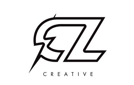 CZ Letter Logo Design With Lighting Thunder Bolt. Electric Bolt Letter Logo Vector Illustration. Reklamní fotografie - 124824244
