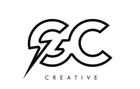 GC Letter Logo Design With Lighting Thunder Bolt. Electric Bolt Letter Logo Vector Illustration.
