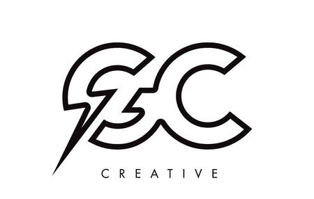 GC Letter Logo Design With Lighting Thunder Bolt. Electric Bolt Letter Logo Vector Illustration. Reklamní fotografie - 124824250