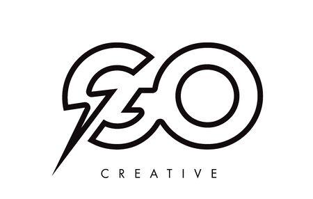 GO Letter Logo Design With Lighting Thunder Bolt. Electric Bolt Letter Logo Vector Illustration. Ilustrace