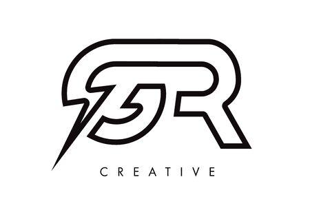 GR Letter Logo Design With Lighting Thunder Bolt. Electric Bolt Letter Logo Vector Illustration. Reklamní fotografie - 124824251