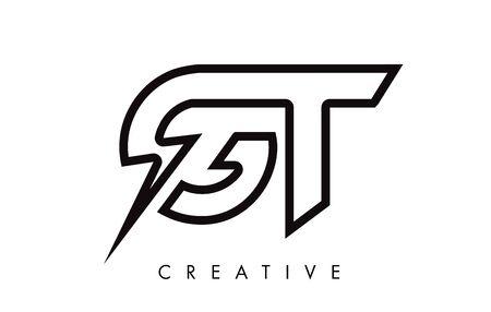 GT Letter Logo Design With Lighting Thunder Bolt. Electric Bolt Letter Logo Vector Illustration.