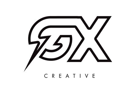 GX Letter Logo Design With Lighting Thunder Bolt. Electric Bolt Letter Logo Vector Illustration. Reklamní fotografie - 124824255