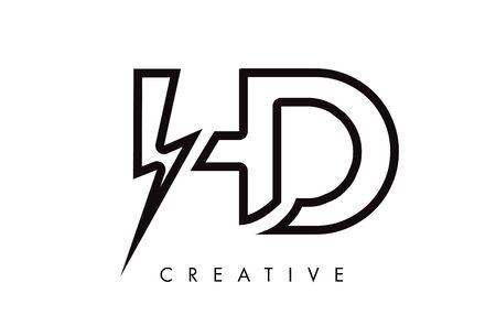 HD Letter Logo Design With Lighting Thunder Bolt. Electric Bolt Letter Logo Vector Illustration.