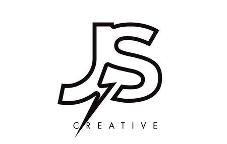 JS Letter Logo Design With Lighting Thunder Bolt. Electric Bolt Letter Logo Vector Illustration.