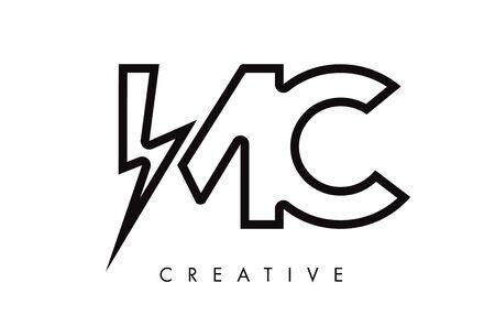 MC Letter Logo Design With Lighting Thunder Bolt. Electric Bolt Letter Logo Vector Illustration.
