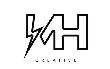 MH Letter Logo Design With Lighting Thunder Bolt. Electric Bolt Letter Logo Vector Illustration. Reklamní fotografie - 124824293