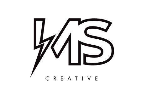 MS Letter Logo Design With Lighting Thunder Bolt. Electric Bolt Letter Logo Vector Illustration. Reklamní fotografie - 124824294
