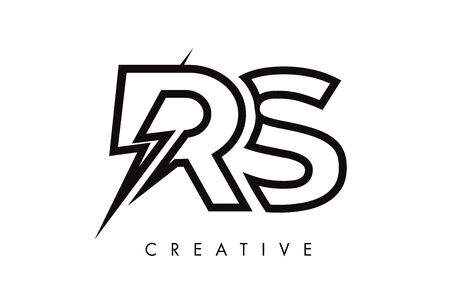 RS Letter Logo Design With Lighting Thunder Bolt. Electric Bolt Letter Logo Vector Illustration. Reklamní fotografie - 124824296