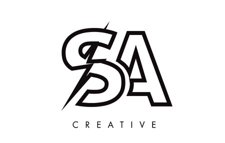 SA Letter Logo Design With Lighting Thunder Bolt. Electric Bolt Letter Logo Vector Illustration. Ilustrace