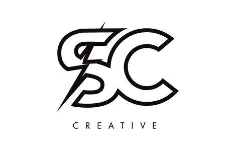 SC Letter Logo Design With Lighting Thunder Bolt. Electric Bolt Letter Logo Vector Illustration. Ilustrace
