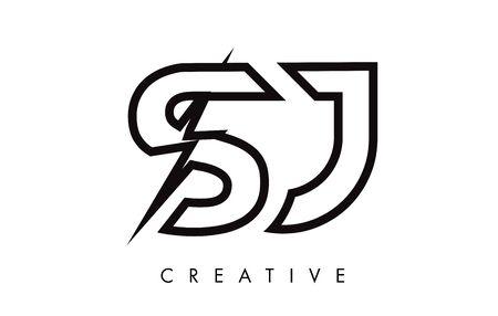 SJ Letter Logo Design With Lighting Thunder Bolt. Electric Bolt Letter Logo Vector Illustration. Ilustrace