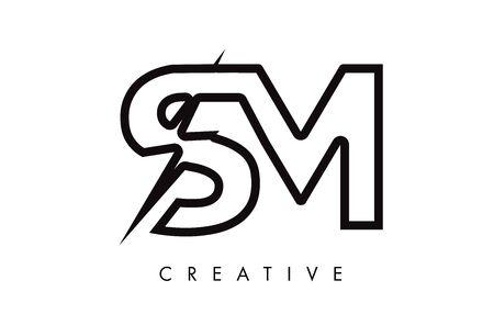 SM Letter Logo Design With Lighting Thunder Bolt. Electric Bolt Letter Logo Vector Illustration. Reklamní fotografie - 124824302