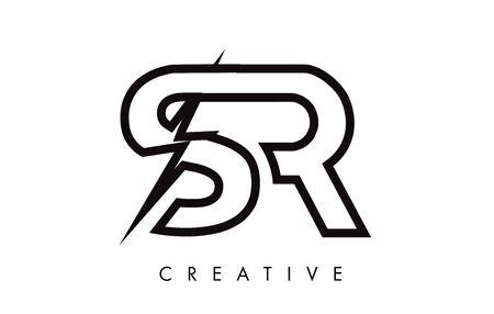 SR Letter Logo Design With Lighting Thunder Bolt. Electric Bolt Letter Logo Vector Illustration.